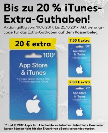 Bis zu 20 % iTunes Extra-Guthaben @ [Kaufland bundesweit ab 19.10]