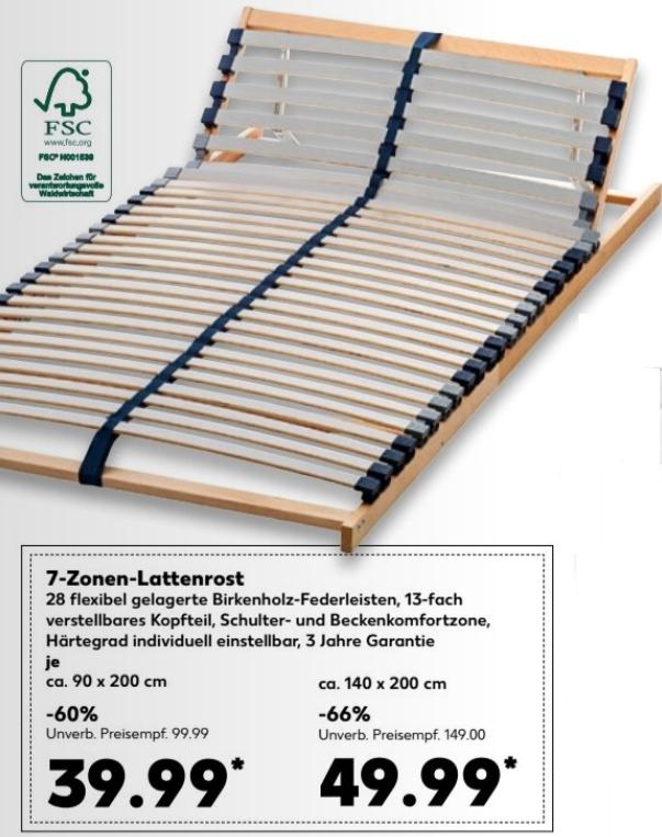 7-Zonen-Lattenrost / Härteregulierung / verstellbares Kopfteil / B 90cm = 39,99 € bzw. 140cm = 49,99 € @ [Kaufland ab 19.10.]