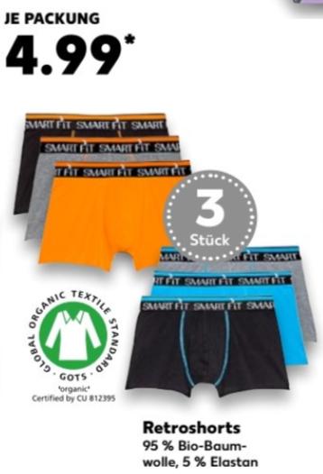 3er Pack (Retro-) Boxershorts aus 95 % Bio-Baumwolle (5 % Elasthan) für 4,99 € ( 1,66 € Pro Stück) @ [Kaufland bundesweit ab 19.10]