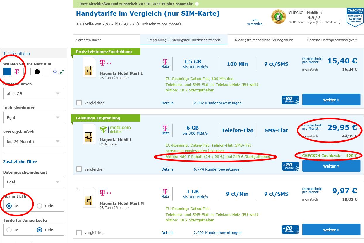 [Check24] mobilcom debitel - Magenta Mobil L [24Mo] für 44,95 -> 29,95 eff