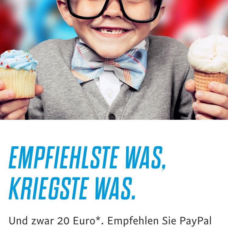 Paypal 20€ sichern bei Weiterempfehlung bis 31.10.17
