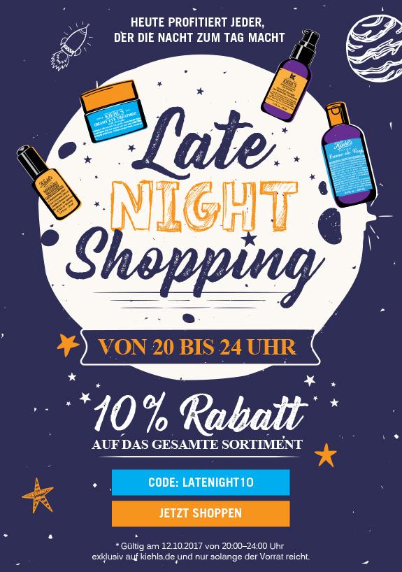 (Kiehl´s.de) Late Night Shopping 10% auf Alles 12.10. 20-24 Uhr