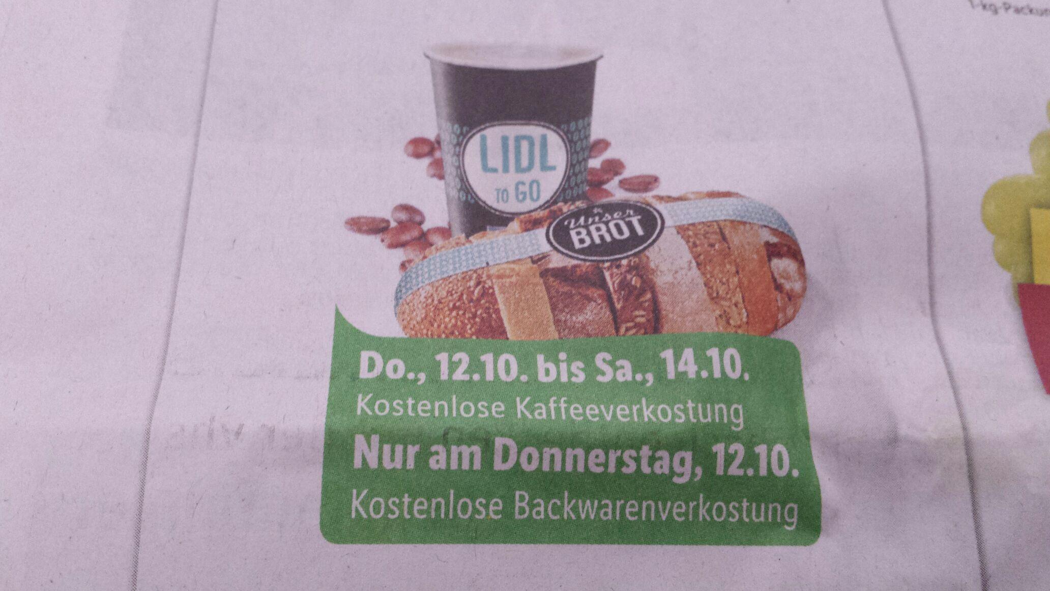 (Lokal) Lidl Heroldsberg nur heute kostenlos Kaffee und Backwarenkostung