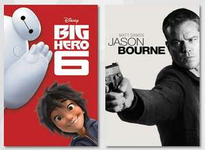 5 Kostenlose Filme in HD bei Google Play: Baymax, The Lego Movie, Jason Bourne, Ice Age, Ghostbusters (VPN)