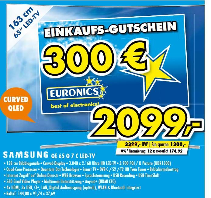 [lokal Gütersloh] Samsung Q7C QLED 4K QLED TV (Flat, 65 Zoll, UHD 4K, SMART TV) + 300€ Euronics Gutschein für 2099€ @ Euronics XXL Bücker
