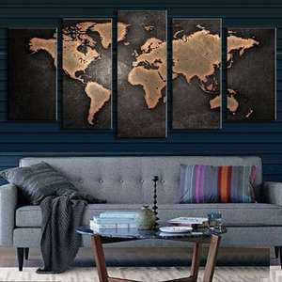5-teiliges Retro Wandbild (Weltkarte)