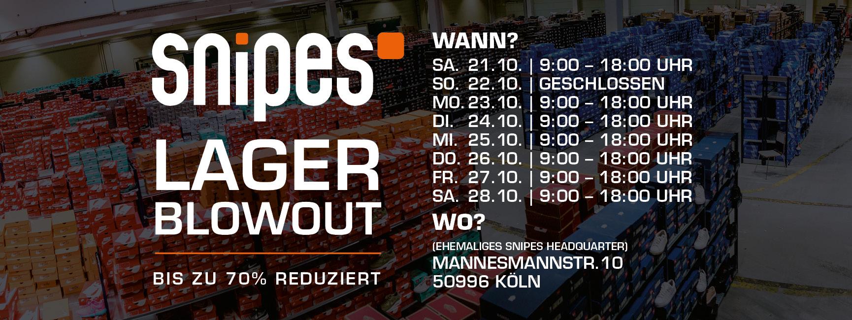[Köln] Snipes Lager Blowout vom 21.10. - 28.10.17 - bis zu 70% Rabatt