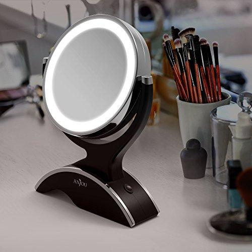 Anjou Kosmetikspiegel mit 14 LEDs und 7-facher Vergrößerung, 360° drehbar (mit Prime)