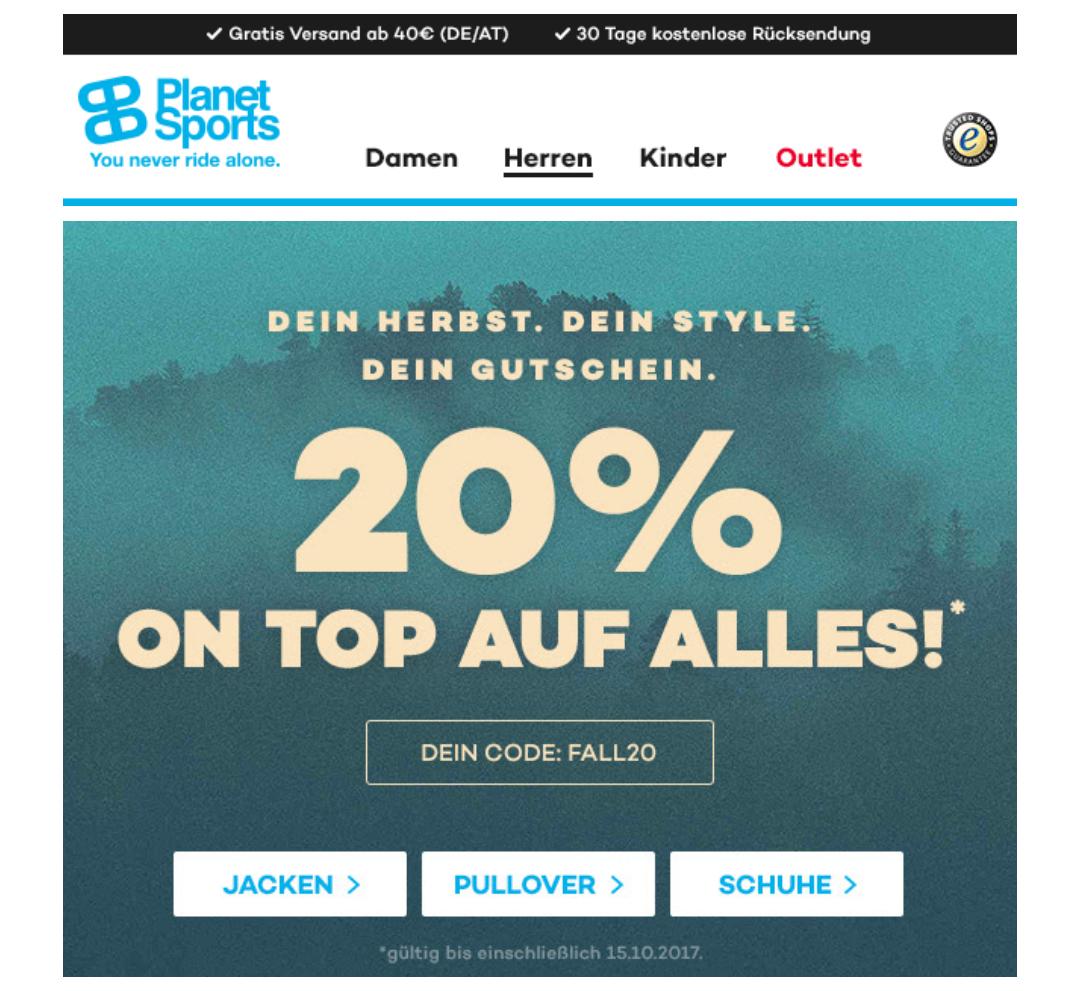 20% auf alles bei planet-sports.de