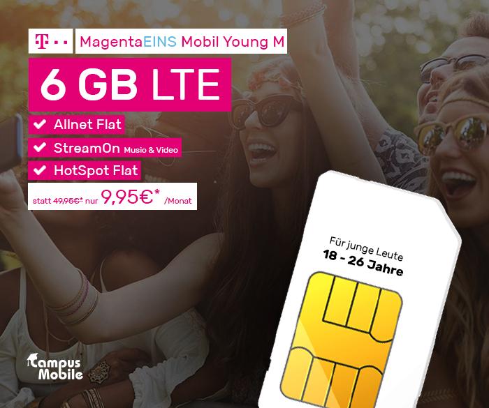[Lokal Dortmund & Köln] MagentaEINS Mobil Young M - Allnet - 6GB - StreamOn - 6 Monate Apple Music | 9,95€/mtl.