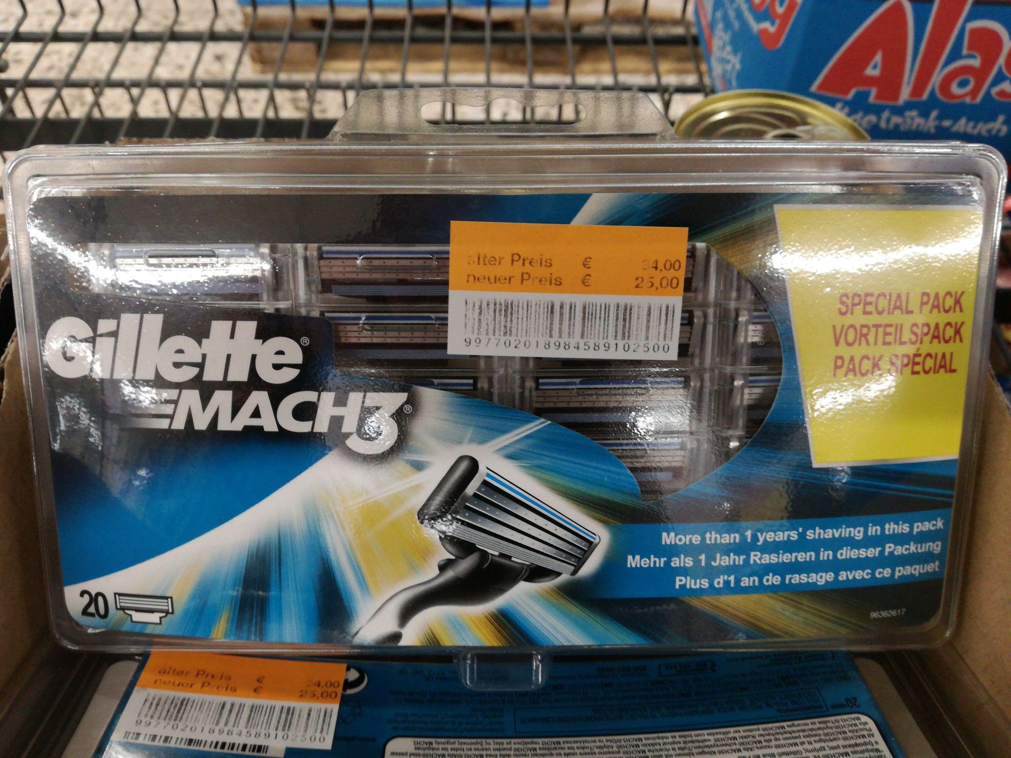 Gillette MACH3 Klingen im 20er Pack @Real Markt Moers