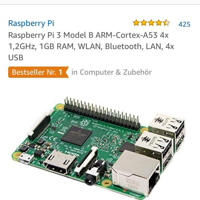 Raspberry Pi 3 Model B mit Verkauf und Versand durch Amazon