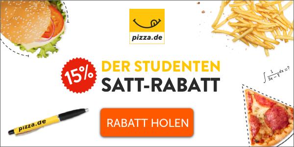 [Pizza.de] 15% Rabatt für Studenten über studentenrabatt.com