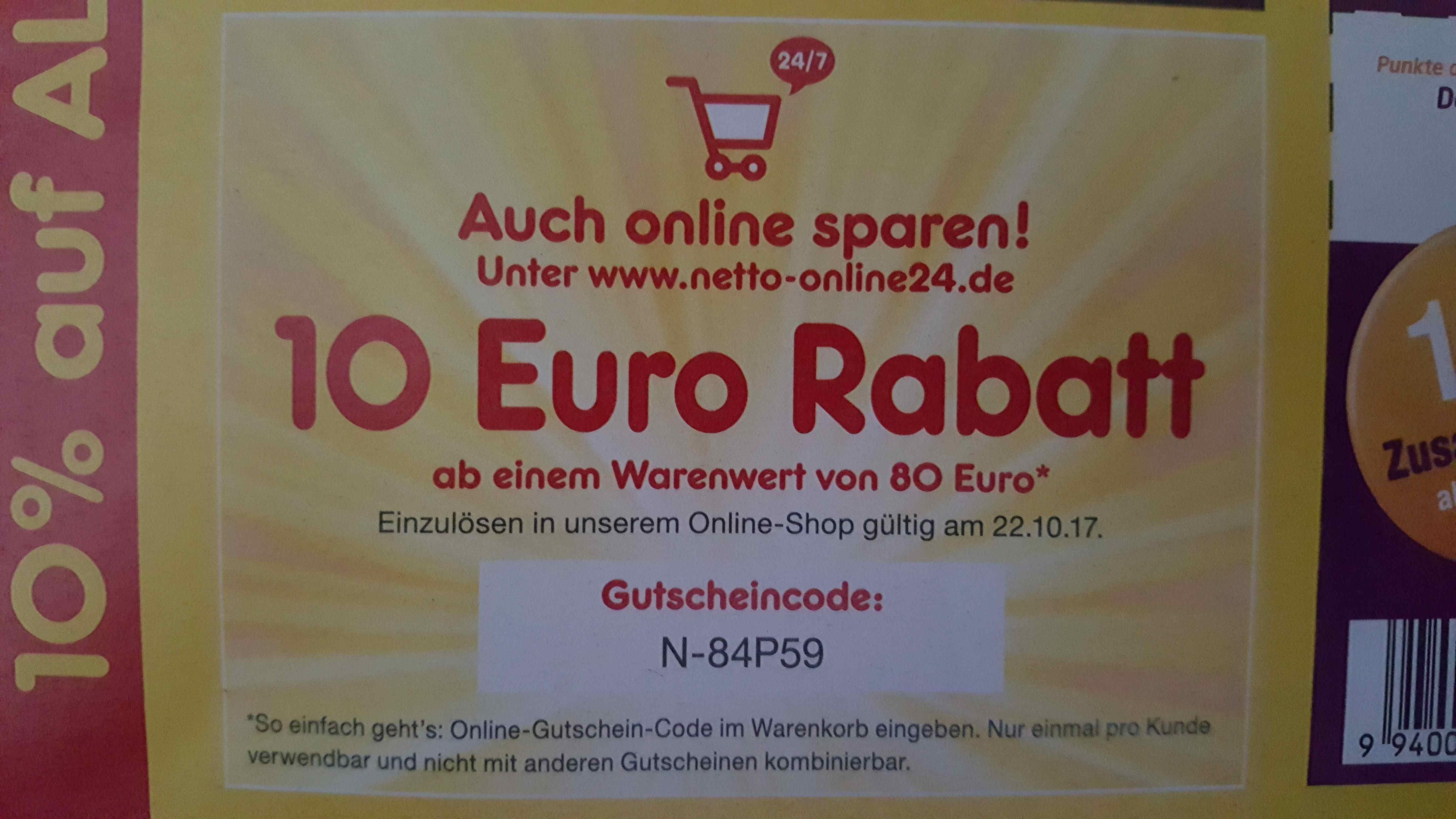 [Netto MD online] 10€ Gutschein MBW 80€ bis  22.10.17