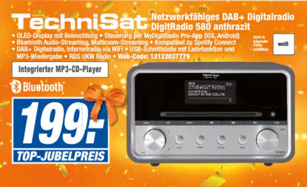 [Expert lokal Wunstorf, evtl weitere] TechnisSat DAB+ & Internetradio - DigitRadio 580 - DAB+, UKW, WLAN, Bluetooth, USB, CD