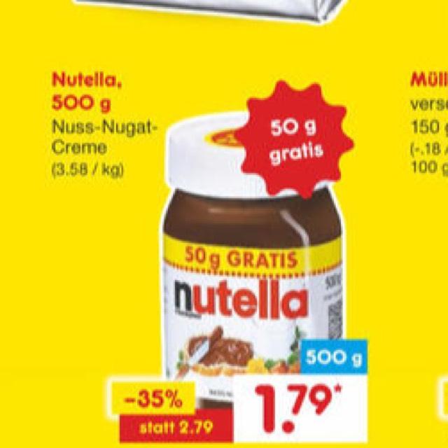 Nutella (500g) für 1,79€ bei Netto MD ab 19.10.