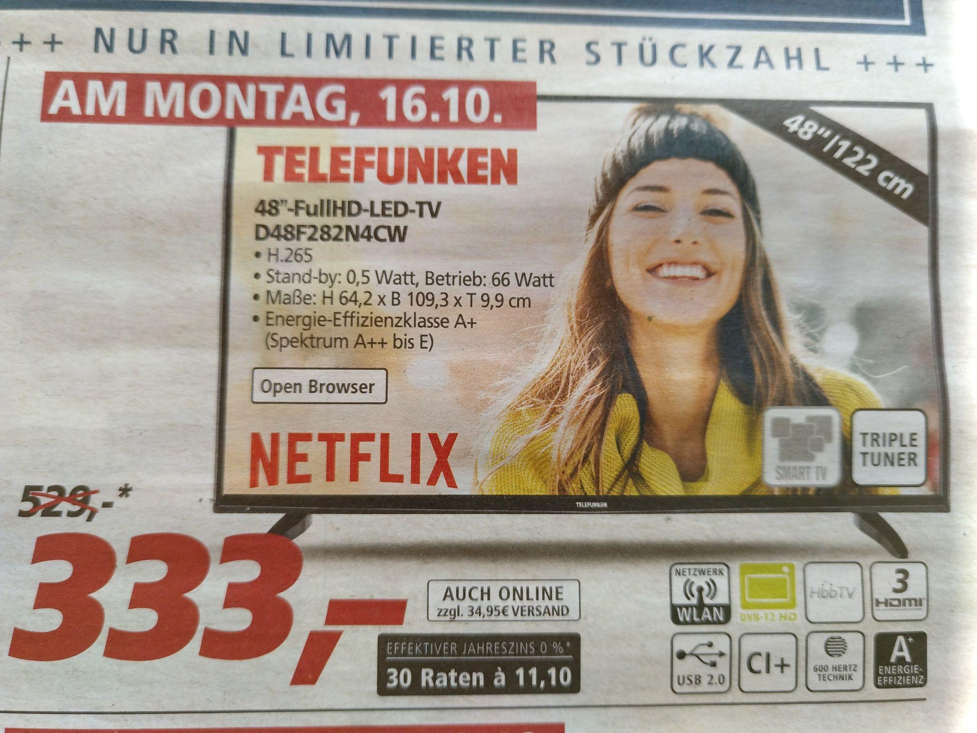 OFFLINE und ONLINE @ REAL Telefunken 48 Zoll D48F282N4CW