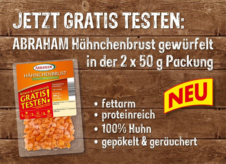 Gratis testen: Abraham Hähnchenbrust gewürfelt 2x50g