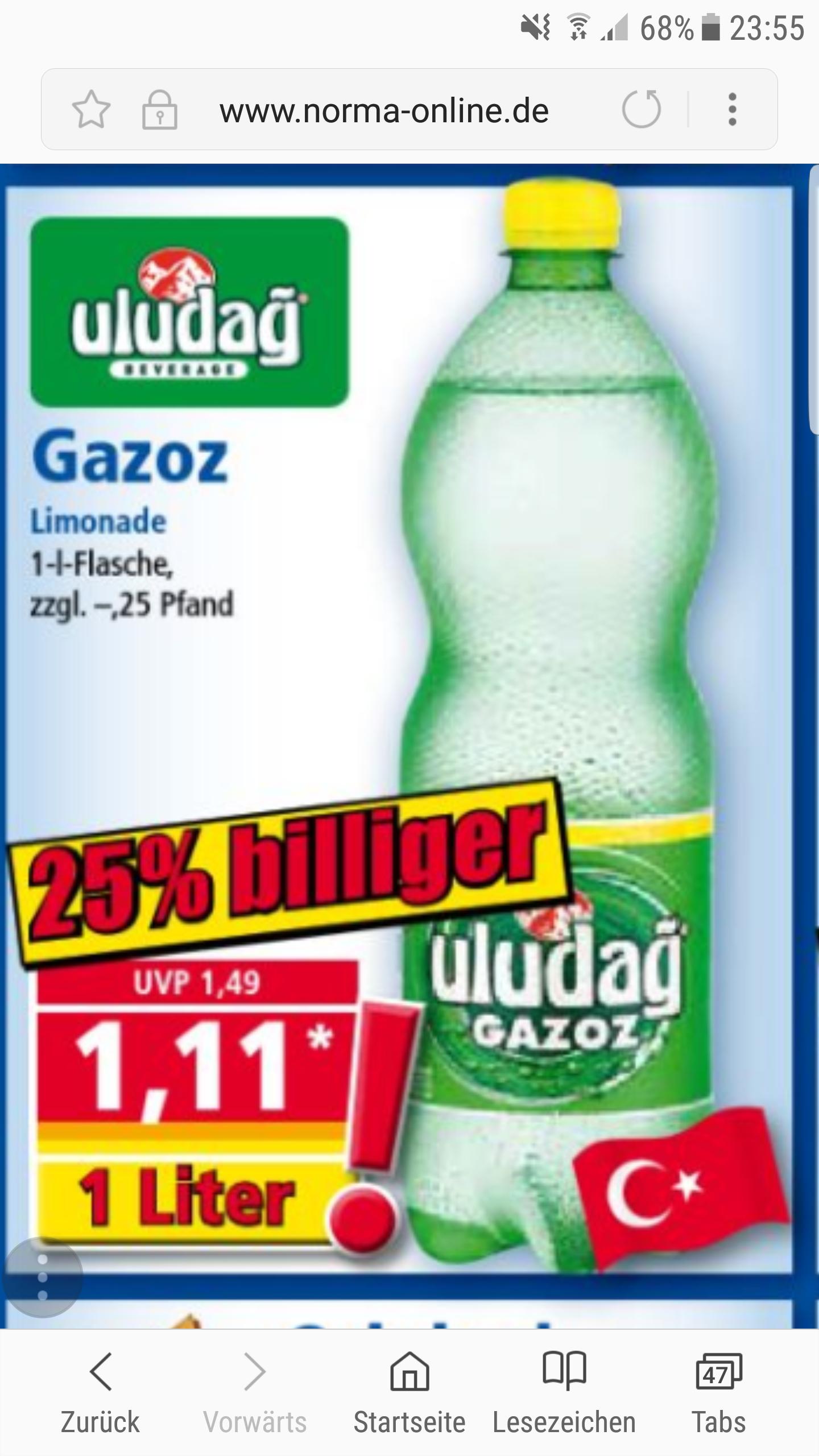 Uludag Gazoz (1 Liter) für 1,11€ bei Norma