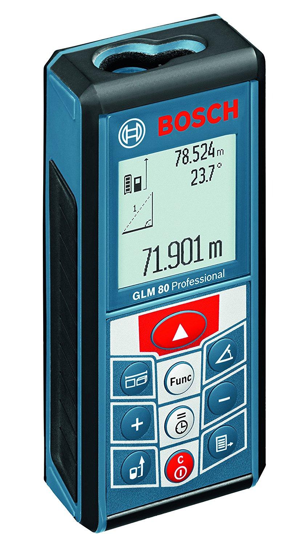 [amazon.es] Bosch Professional Laser-Entfernungsmesser GLM 80 (0,05 - 80 m Messbereich, ± 1,5 mm Messgenauigkeit, 360°-Neigungssensor, Speicherfunktion, Herstellerzertifikat, IP54, 1.250mAh Li-Ion) inkl. Micro-USB-Ladegerät & Schutztasche