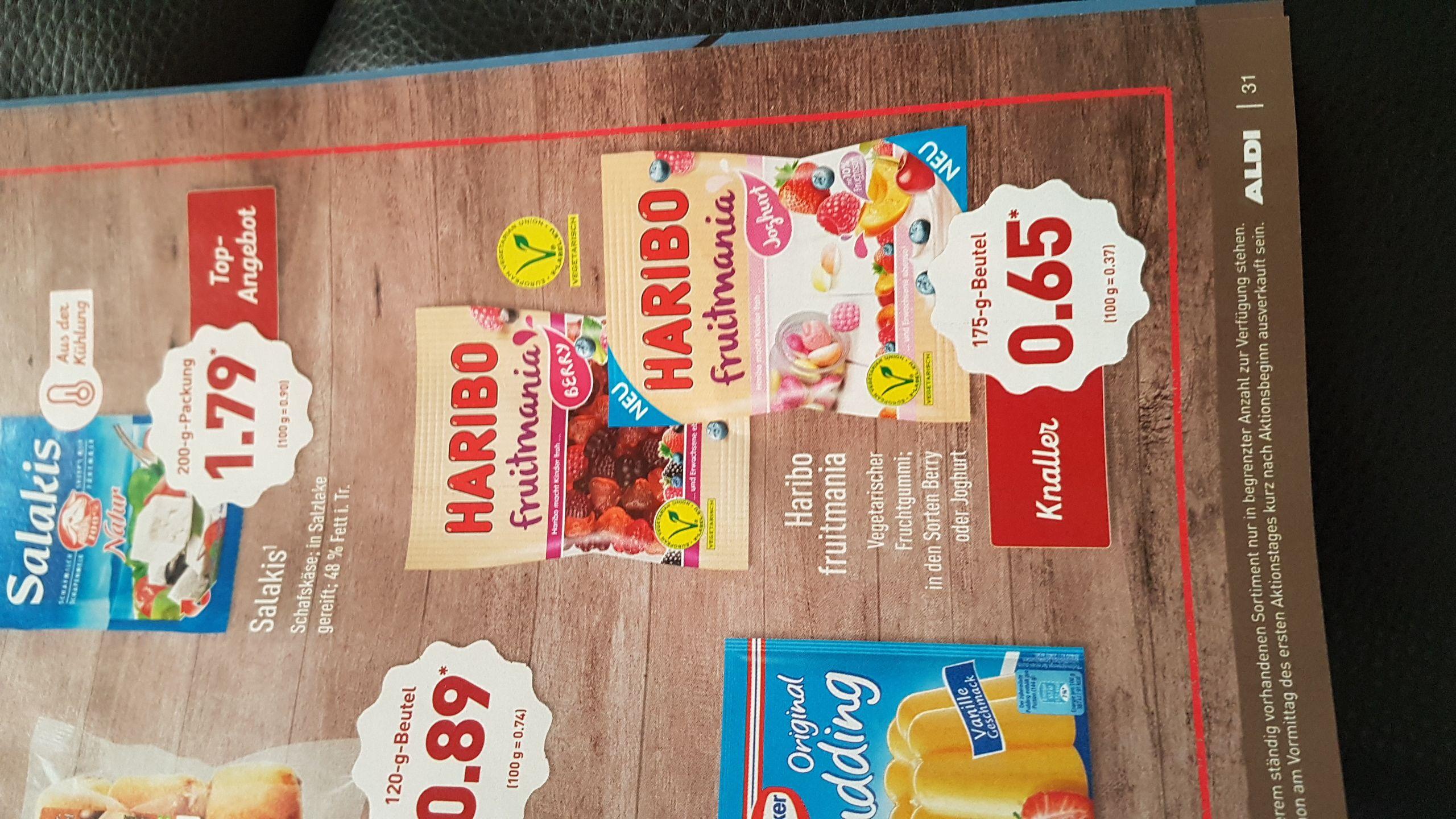 Haribo Fruitmania 30 cent Cashback + 0,50 cent Cashback auf Aldi Kassenzettel = Freebie
