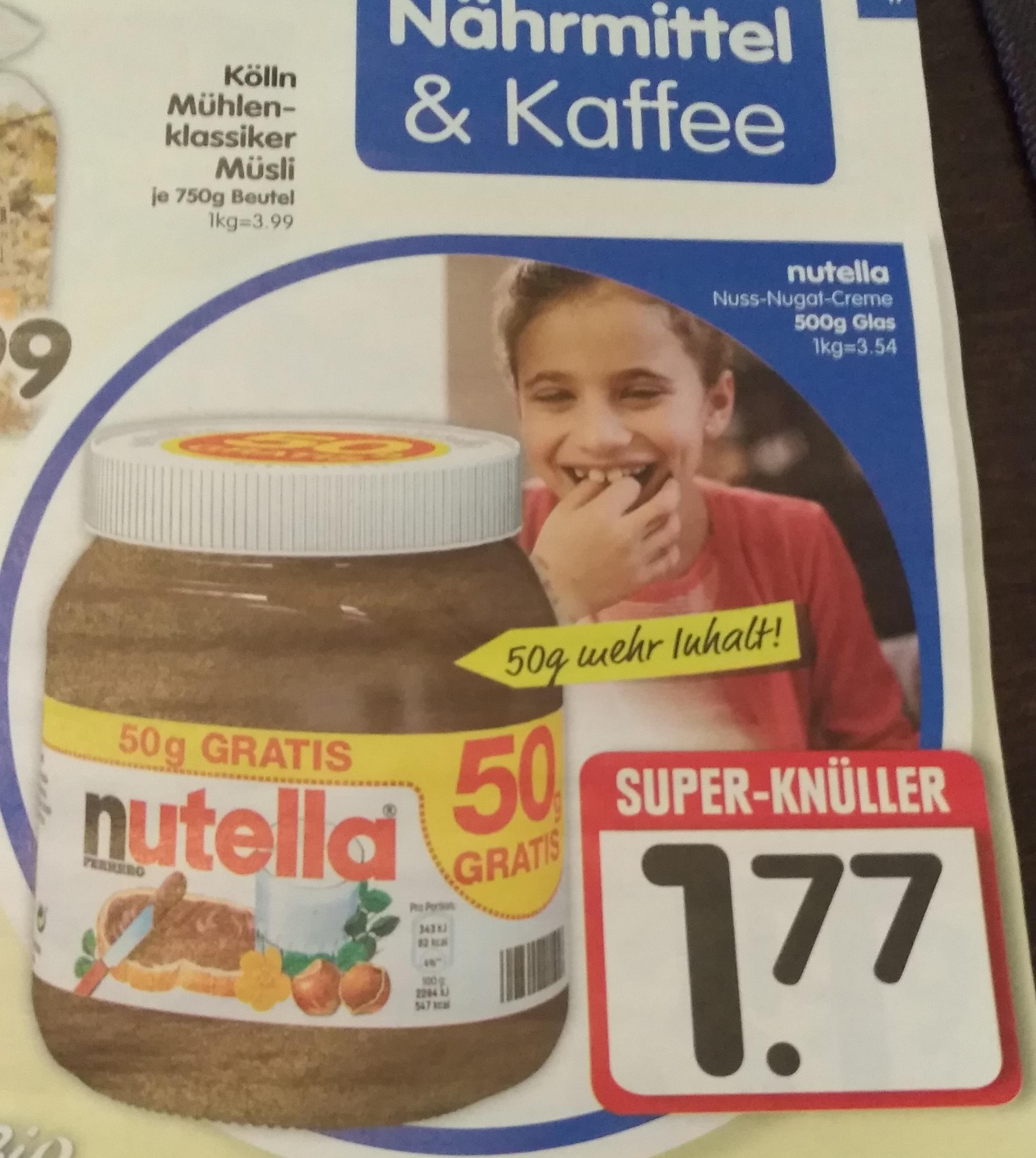 Edeka Süd ab 16.10.2017 - Nutella 500 gr. Glas für 1,77 Euro