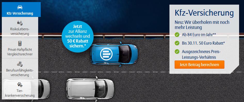 Allianz KFZ Versicherung mit 50€ Cashback