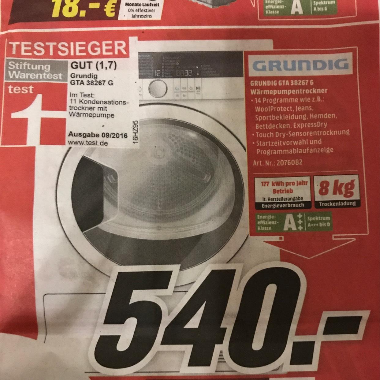 Lokal Grundig GTA 38267 G Wärmepumpentrockner ++Testsieger++