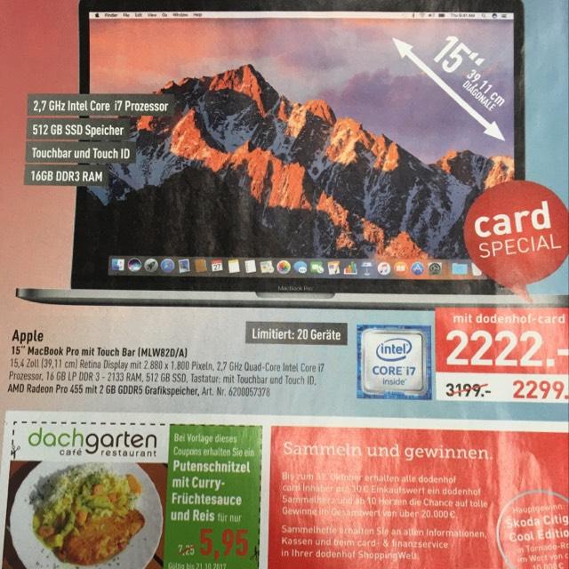 """Dodenhof MacBook Pro 15"""" 2016 mit Touchbar"""