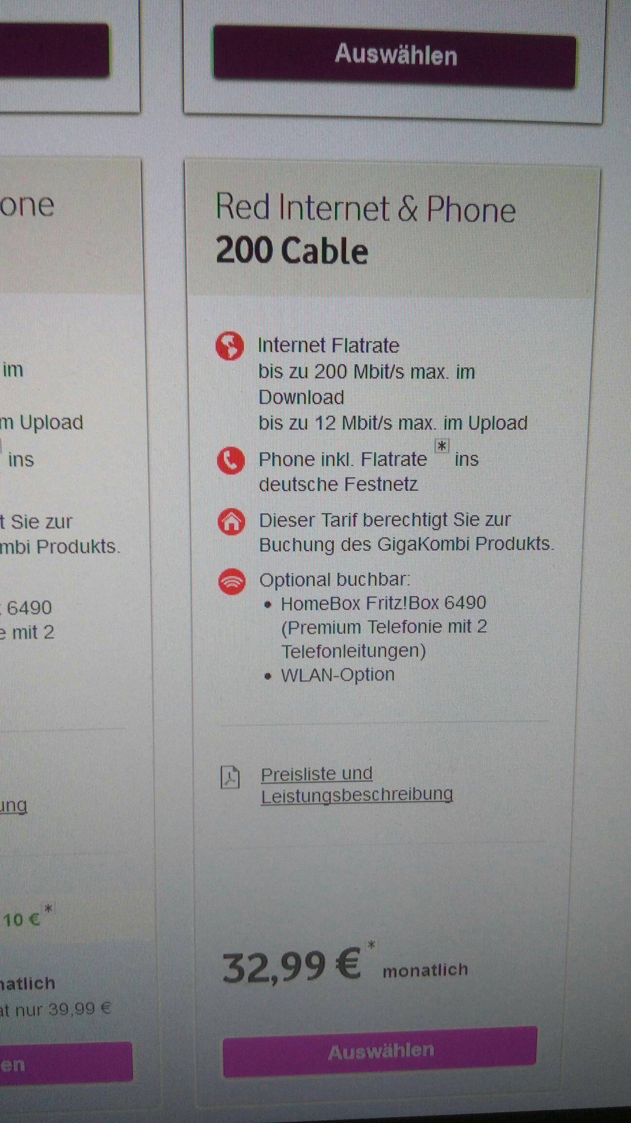 Vodafone/Kabeldeutschland Red Internet&Phone 200mbit/s *Bestandskunden*
