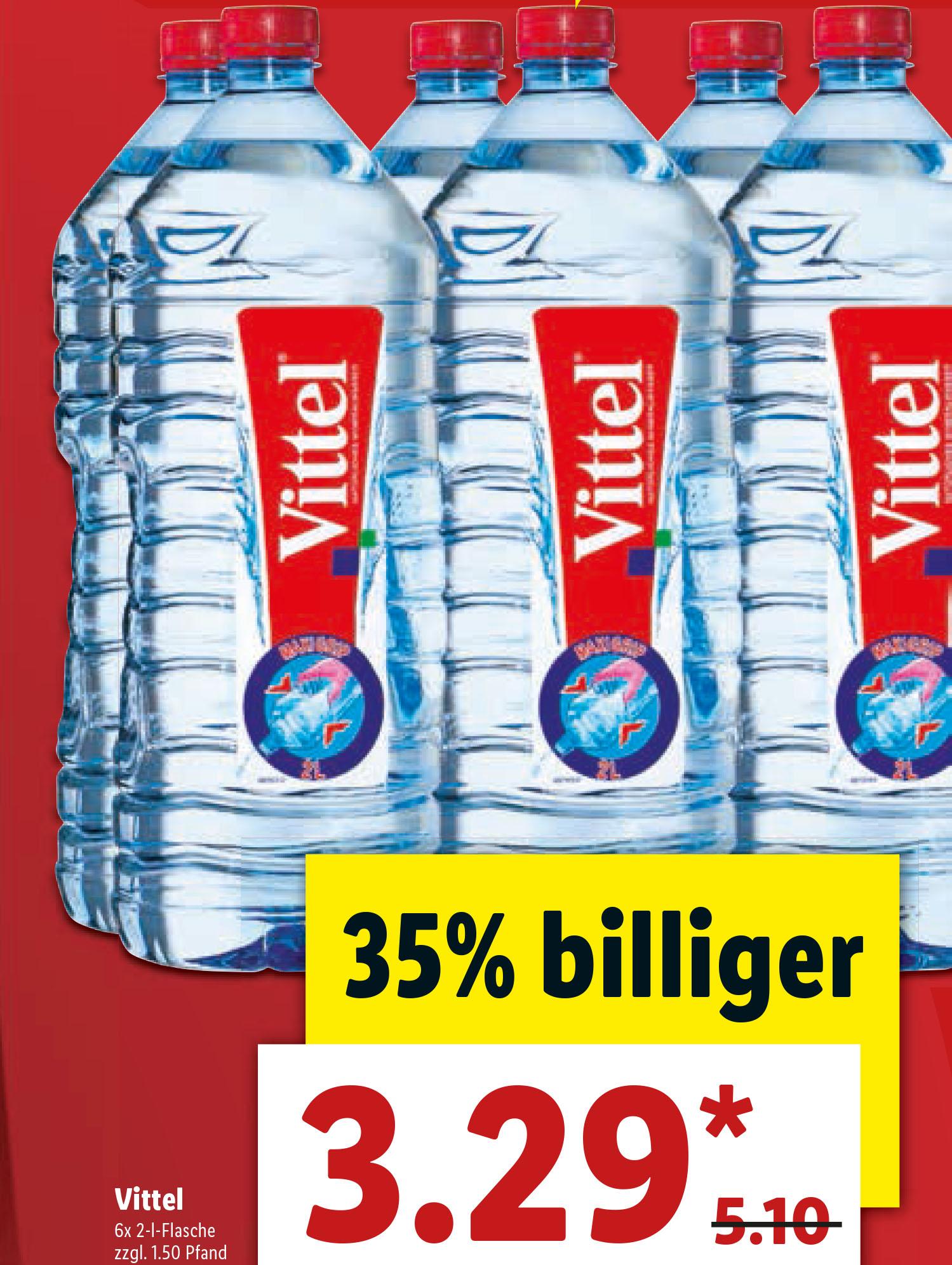 (Lidl) Vittel Wasser 6er-Pack 2l-Flaschen für 3,29€