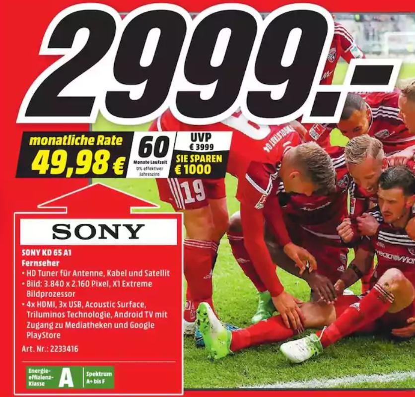 [Media Markt Lübeck] Sony KD-65A1
