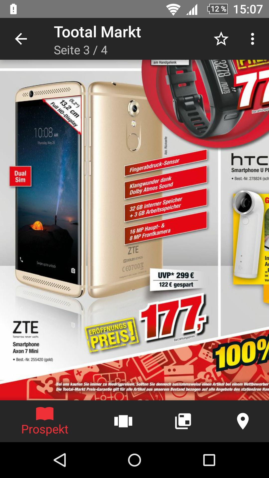 Lokal  TootalMarkt Vechta Neueröffnung Angebot Bestpreis!ZTE Axon 7 Mini 32 GB Gold!