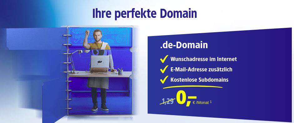 [1&1 Neukunden]: Eigene .de-Domain für 0,- Euro im 1. Jahr