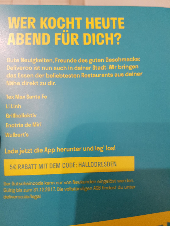 Deliveroo 5 Euro Neukunden Gutschein  (lokal nur Dresden)