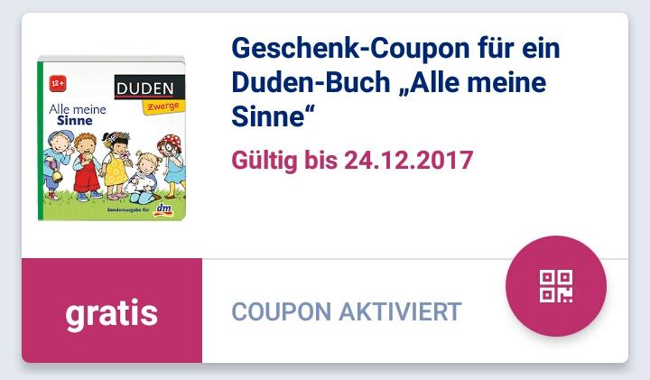 """dm Glückskind App: Geschenk-Coupon für Duden-Buch """"Alle meine Sinne"""""""