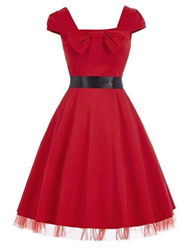 50s Vintage Rockabilly Kleid Partykleider Petticoat Kleid perfekt für Halloween 50% code inkl Amazon Prime