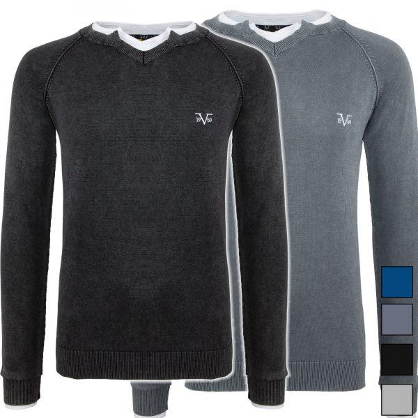 [@Dealclub] 19V69 Versace Pullover mit V Ausschnitt i.d. Farben schwarz, grau u. dunkgelgrau [+3% shoop]