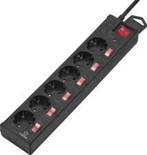 Renkforce Überspannungsschutz-Steckdosenleiste 6fach Schwarz Schutzkontakt