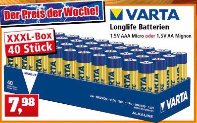 [Thomas Phillips] Varta Batterien  Mignon AA LR6 ODER AAA Micro Made in Germany Vorratspack 40 Stück ab 23.10.