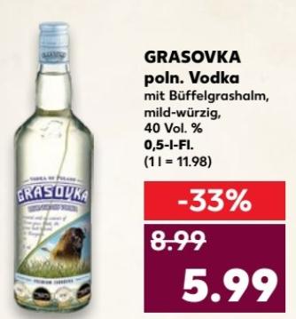 Grasovka - polnischer Vodka mit Büffelgrashalm - 0,5l Flasche für 5,99 € @ [Kaufland bundesweit ab 26.10.]