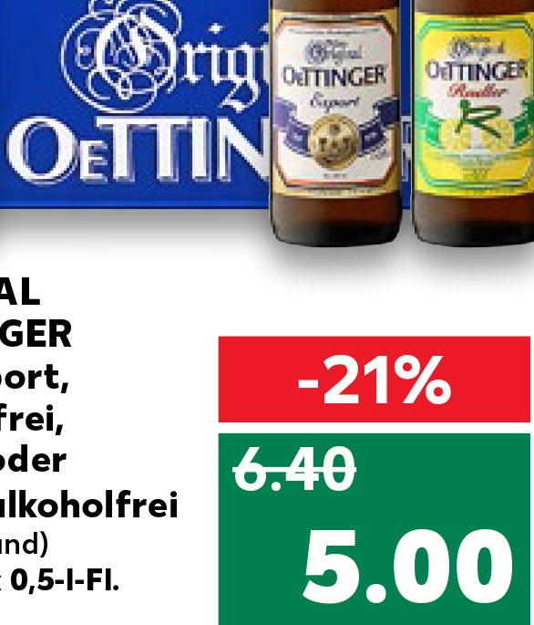 Kaufland Oettinger Pils, Export, Alkoholfrei und Radler für nur 5 Euro