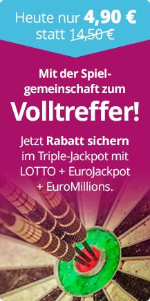 [Lottohelden] 1 Anteil Spielgemeinschaft Triple Jackpot für 4,90€ statt 14,50€