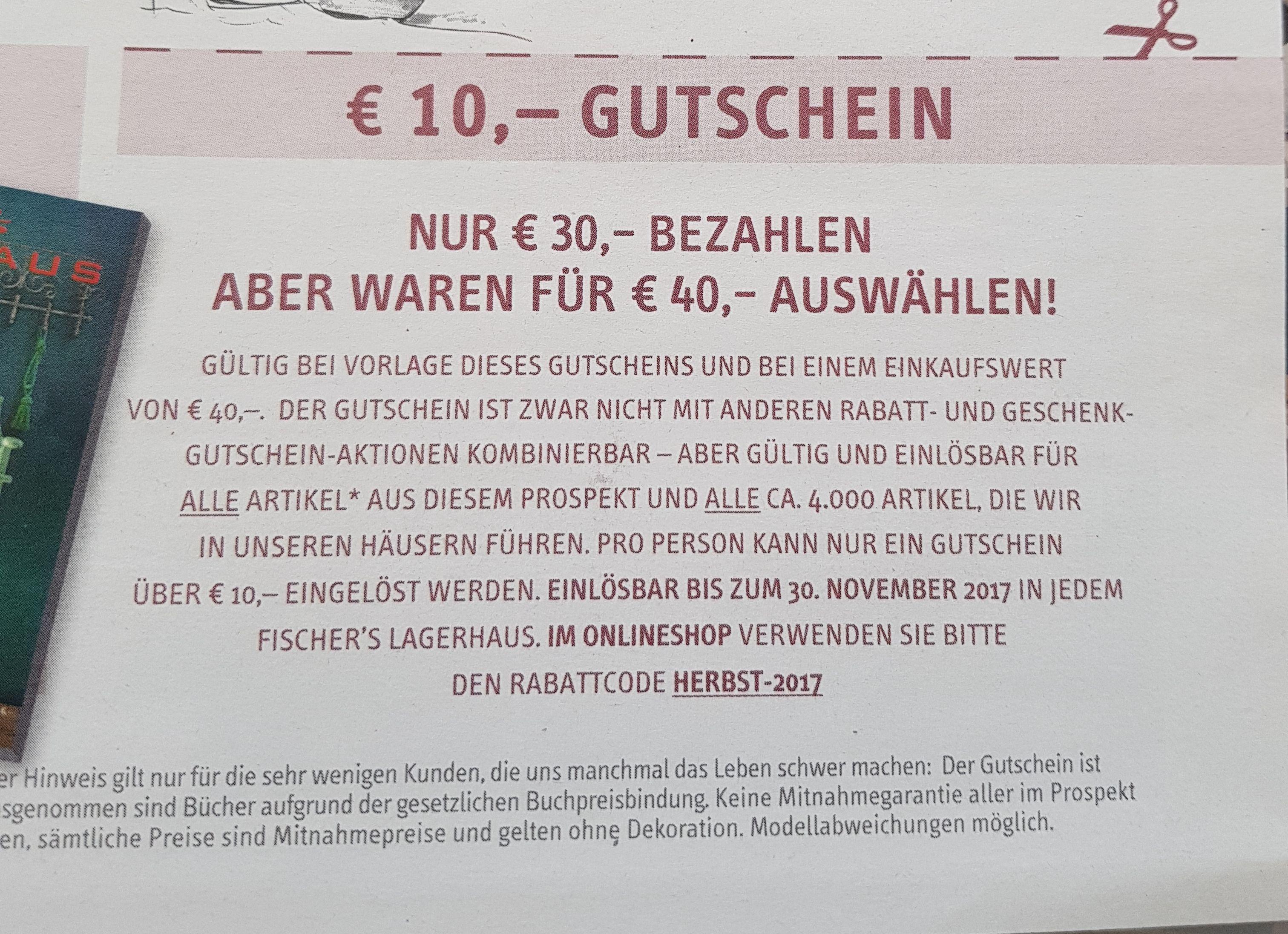 30 statt 40 Euro bezahlen online oder offline bei Fischers Lagerhaus