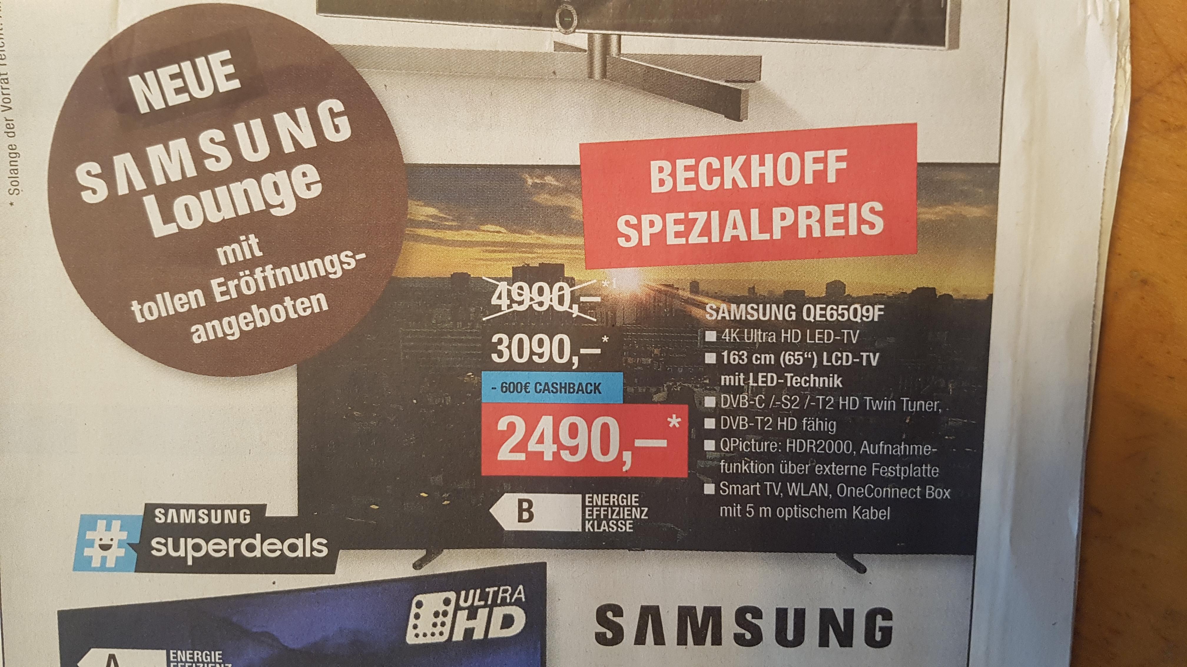Samsung 65Q9F für 2490,- statt 4999,- Lokal Bielefeld, Gütersloh, Paderborn
