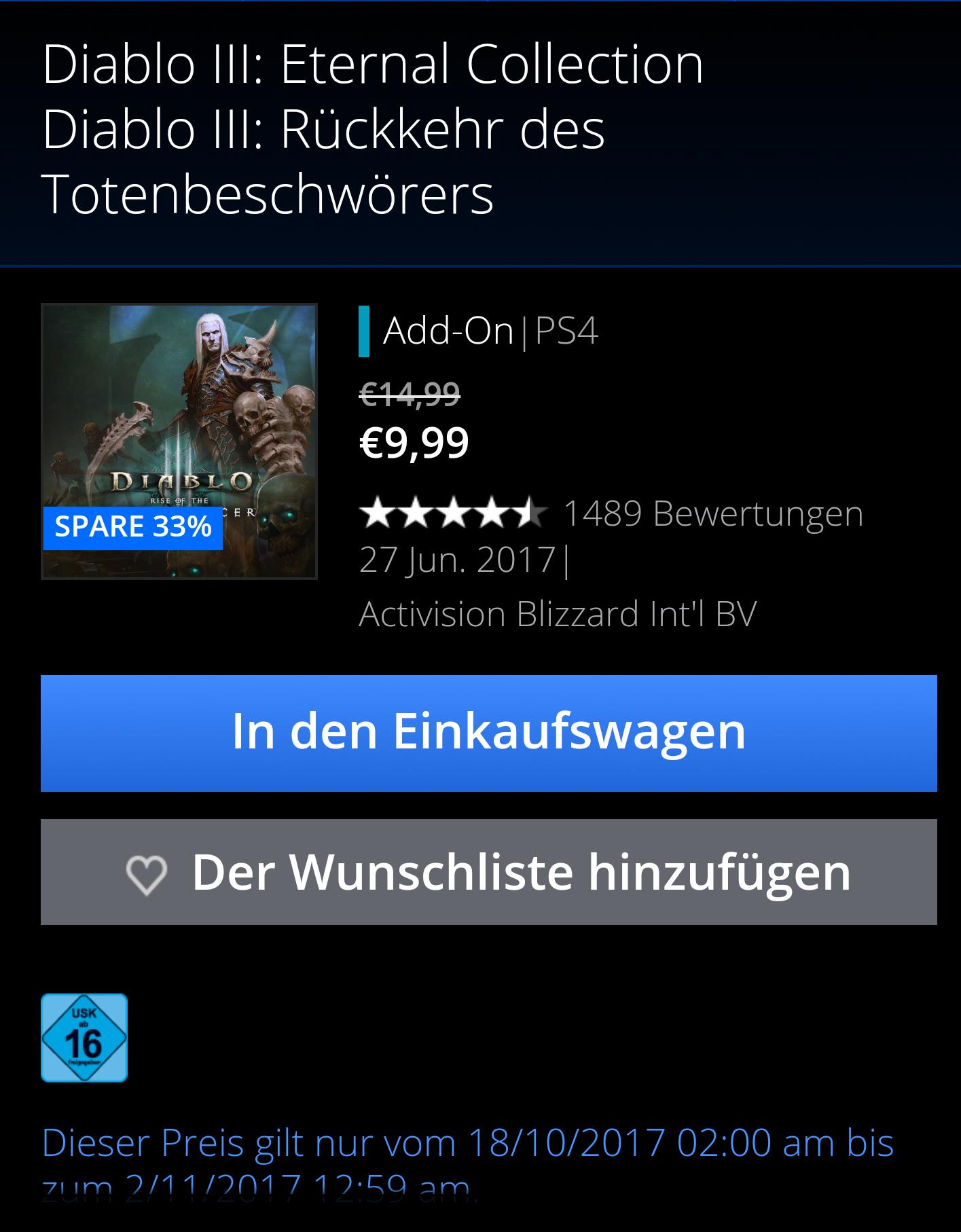 Diablo 3 Totenbeschwörer Addon PS4 reduziert im PSN und bei Amazon