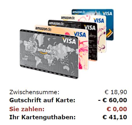 Amazon Visa Kreditkarte mit 60 € Startgutschrift - nur für Prime Kunden, die noch nie eine Amazon Kreditkarte beantragt haben