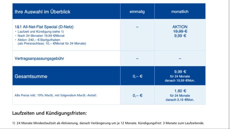 1&1 D-Netz Allnet-Flat + 2GB 3G, Keine Datenautomatik