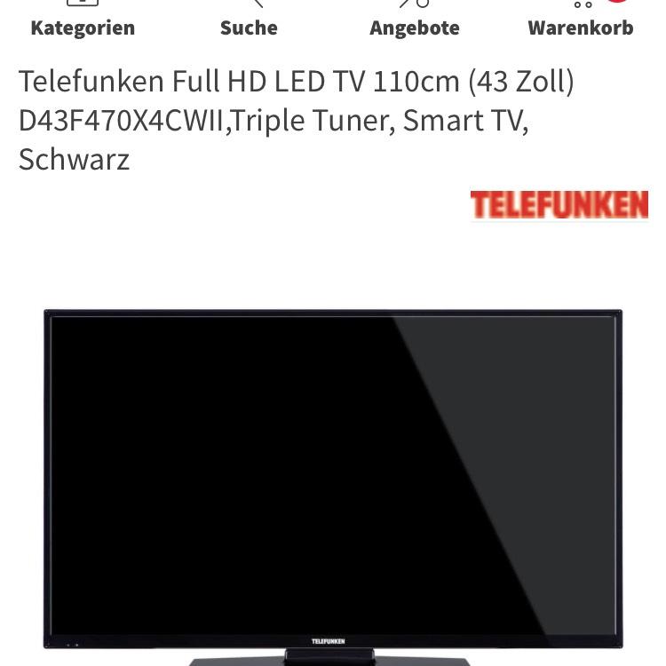 Telefunken Full HD LED TV 110cm (43 Zoll) D43F470X4CWII,Triple Tuner, Smart TV, Schwarz