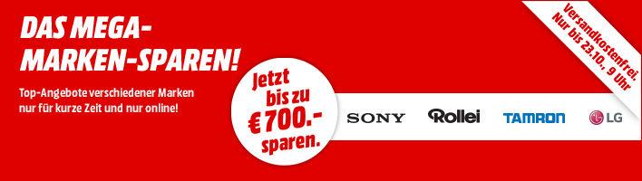 [MediaMarkt Online] Mega-Marken-Sparen: SONY Kameras | TAMRON Objektive | LG TVs und Haushaltsgeräte | ROLLEI Kamera- und Fotozubehör